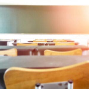 School classroom in blur